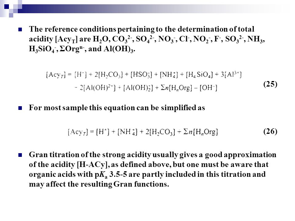 The reference conditions pertaining to the determination of total acidity [AcyT] are H2O, CO32-, SO42-, NO3-, Cl-, NO2-, F-, SO32-, NH3, H3SiO4-, ΣOrgn-, and Al(OH)3.